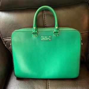 Gently used Kelly green Kate Spade laptop bag